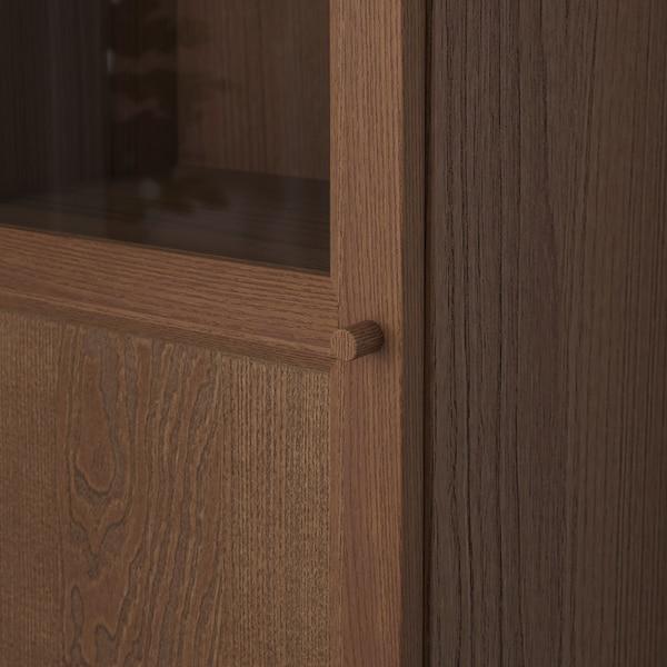 BILLY / OXBERG bookcase w hght ext ut/pnl/glss drs brown ash veneer/glass 40 cm 30 cm 237 cm 14 kg