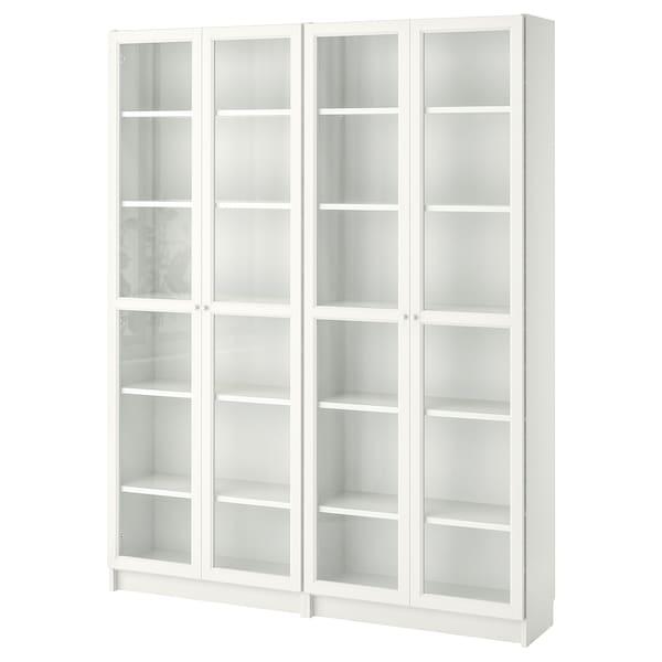 BILLY / OXBERG Bookcase, white/glass, 160x30x202 cm