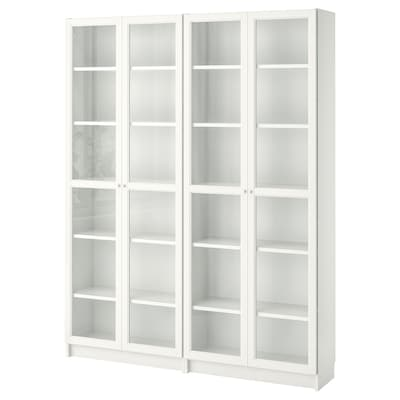 BILLY / OXBERG Bookcase, white/glass, 160x30x202 cm