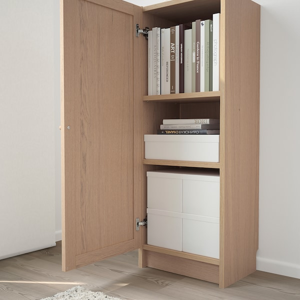BILLY / OXBERG Bookcase with door, white stained oak veneer, 40x30x106 cm