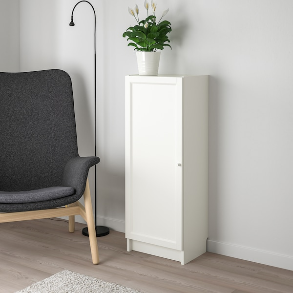 BILLY / OXBERG Bookcase with door, white, 40x30x106 cm