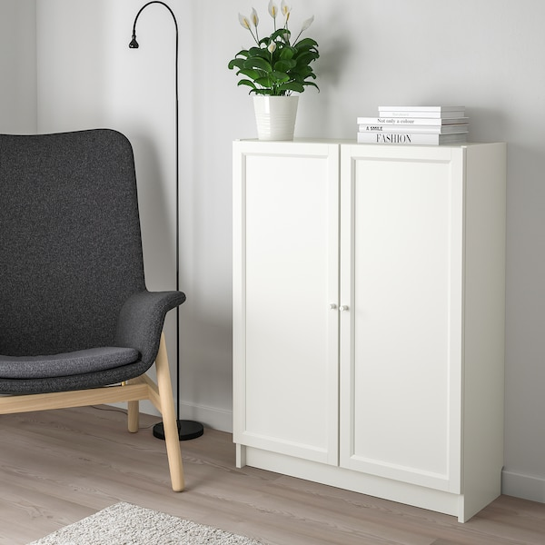 BILLY / OXBERG bookcase with doors white 80 cm 30 cm 106 cm 30 kg