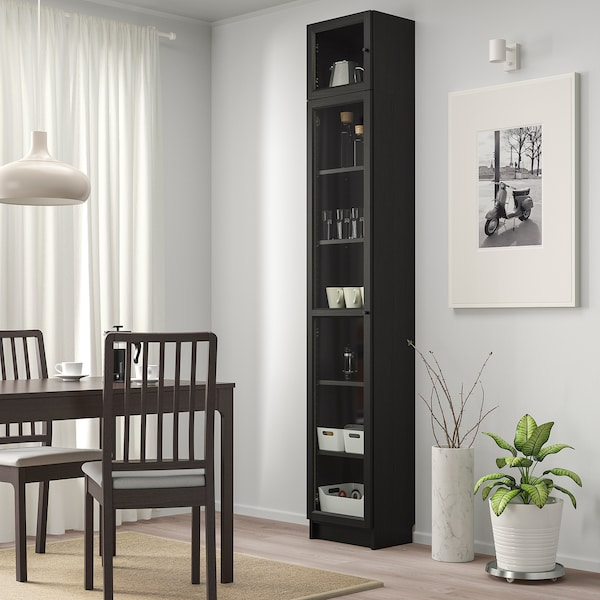 BILLY / OXBERG bookcase with glass door black-brown/glass 40 cm 30 cm 237 cm 14 kg
