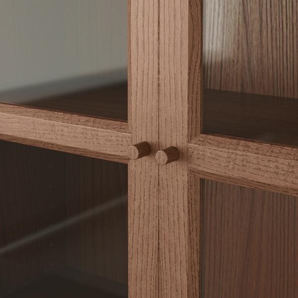 BILLY / OXBERG bookcase with glass-doors brown ash veneer 120 cm 30 cm 202 cm 30 kg