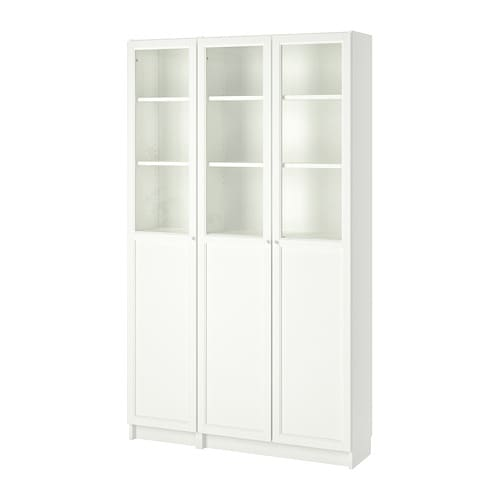 BILLY / OXBERG Bookcase with panel/glass doors