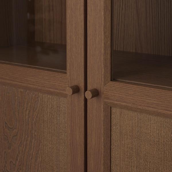 BILLY / OXBERG bookcase with panel/glass doors brown ash veneer 160 cm 30 cm 202 cm 30 kg