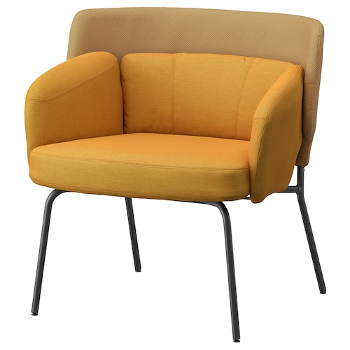 BINGSTA armchair Vissle dark yellow/Kabusa dark yellow 70 cm 58 cm 76 cm 33 cm 45 cm