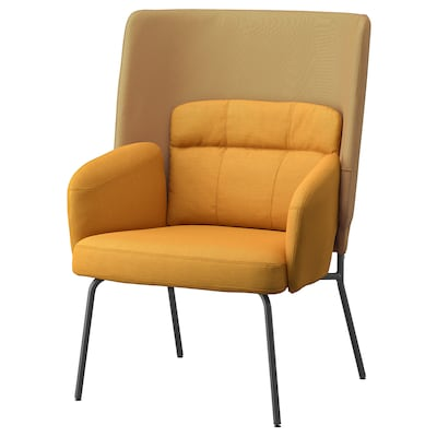 BINGSTA High-back armchair, Vissle dark yellow/Kabusa dark yellow