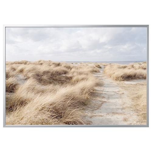 BJÖRKSTA picture with frame Sand dune/aluminium-colour 200 cm 140 cm