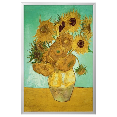 BJÖRKSTA Picture with frame, still life/Vase With Twelve Sunflowers aluminium-colour, 78x118 cm