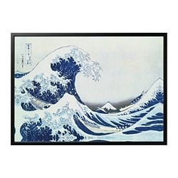 BJÖRKSTA picture with frame, Japanese wave, black