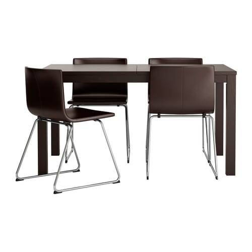 BJURSTA / BERNHARD Table and 4 chairs IKEA You can store the extension leaves within easy reach under the table top.