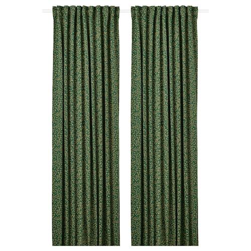 BLÅBÄRSMOTT block-out curtains, 1 pair green 250 cm 145 cm 1.96 kg 3.63 m² 2 pack