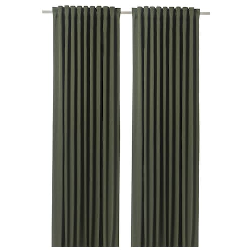 BLÅHUVA block-out curtains, 1 pair green 250 cm 145 cm 2.69 kg 3.63 m² 2 pack