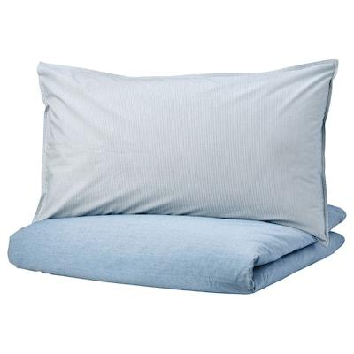BLÅVINDA Quilt cover and 2 pillowcases, light blue, 200x230/50x80 cm