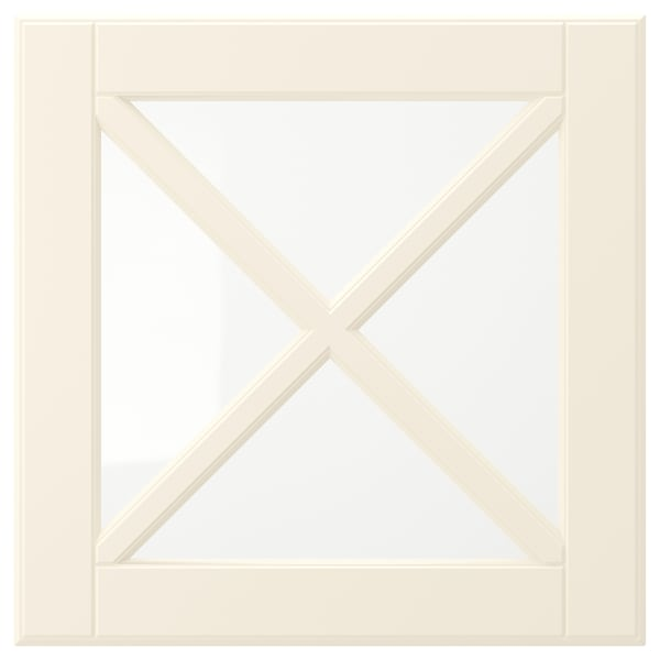 BODBYN Glass door with crossbar, off-white, 40x40 cm