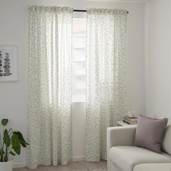 BRANDNÄVA curtains, 1 pair white/grey 250 cm 145 cm 1.49 kg 3.63 m² 2 pack