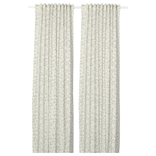 BRANDNÄVA curtains, 1 pair white/grey 250 cm 145 cm 1.49 kg 3.63 m² 2 pack