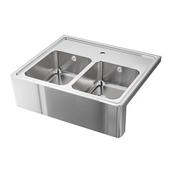 BREDSJÖN sink bowl, 2 bowls w visible front, stainless steel