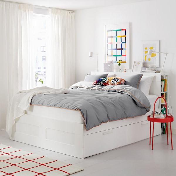 BRIMNES Bed frame w storage and headboard, white/Lönset, 180x200 cm