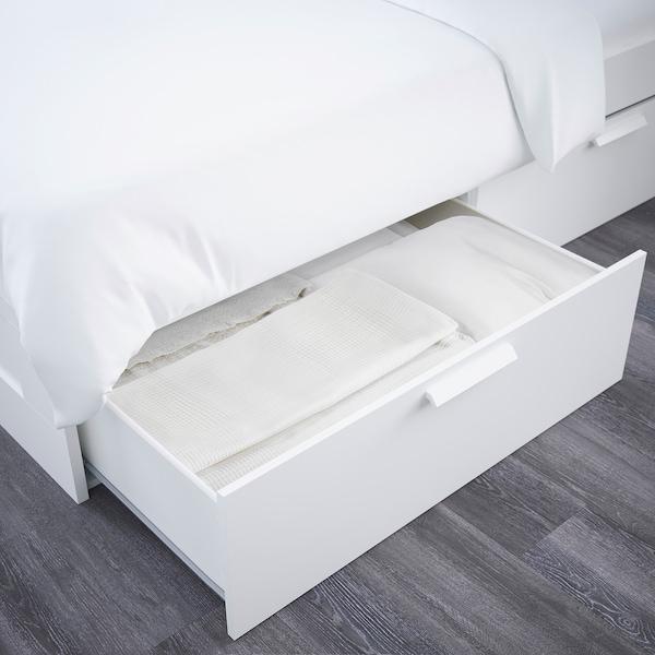 BRIMNES Bed frame w storage and headboard, white/Luröy, 180x200 cm