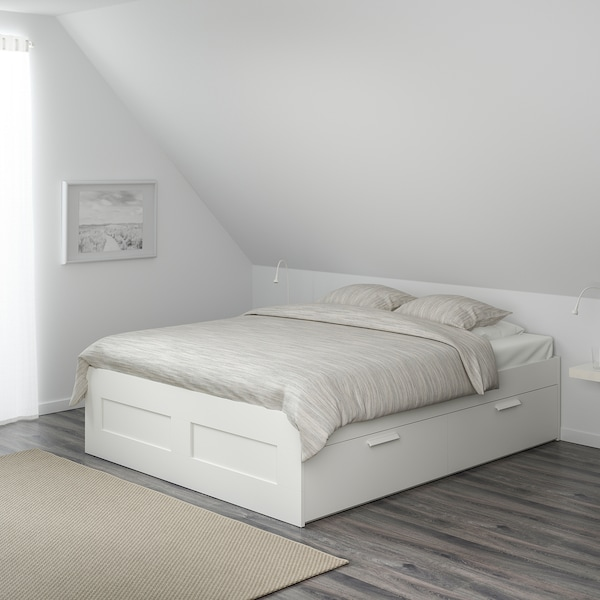BRIMNES Bed frame with storage, white/Luröy, 150x200 cm