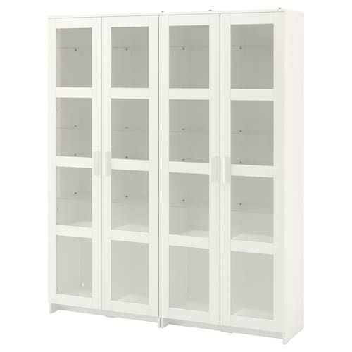 BRIMNES Storage combination w glass doors, white, 160x35x190 cm