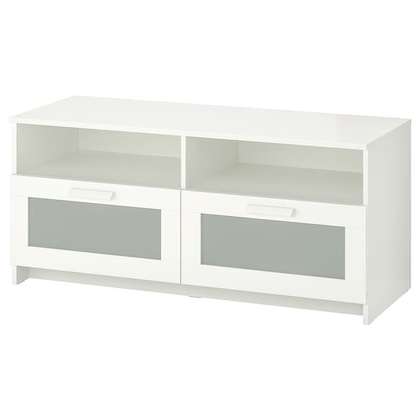 BRIMNES TV bench, white, 120x41x53 cm