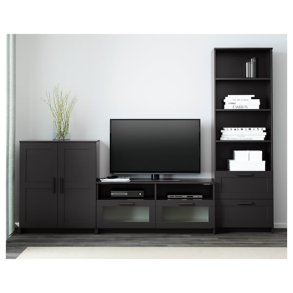 BRIMNES TV storage combination, black, 258x41x190 cm
