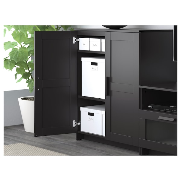 BRIMNES TV storage combination, black, 336x41x95 cm