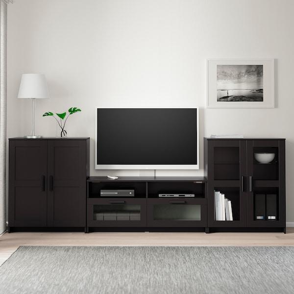 BRIMNES TV storage combination/glass doors, black, 276x41x95 cm