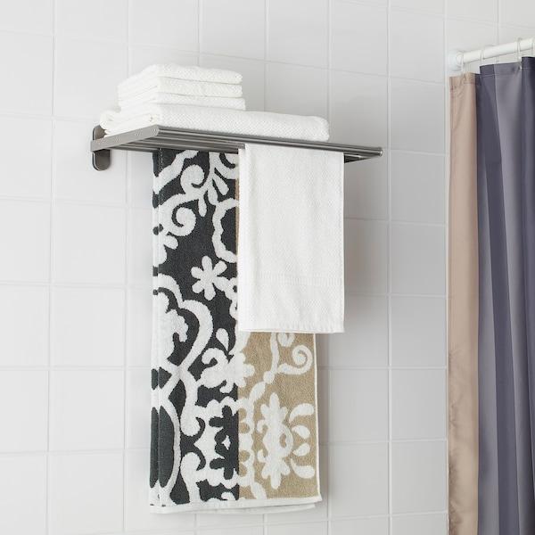 BROGRUND Wall shelf with towel rail, stainless steel, 47x27 cm