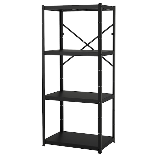 BROR 1 section/shelves, black, 85x55x190 cm