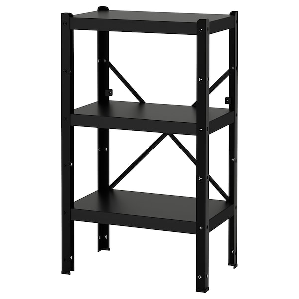 BROR 1 section/shelves, black, 65x40x110 cm