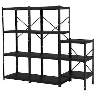 BROR 3 sections/shelves, black, 234x55x190 cm
