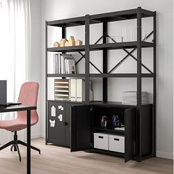 BROR 2 sections/shelves/cabinet, black