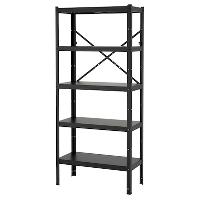 BROR Shelving unit, black, 85x40x190 cm