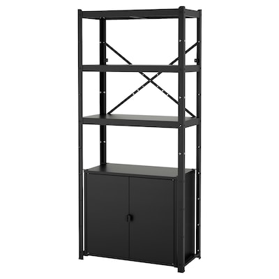 BROR Shelving unit with cabinet, black, 85x40x190 cm