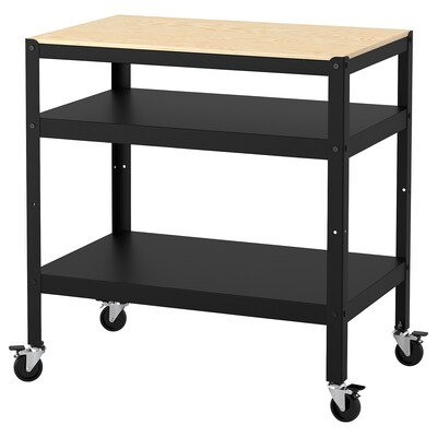 BROR Trolley, black/pine plywood, 85x55 cm