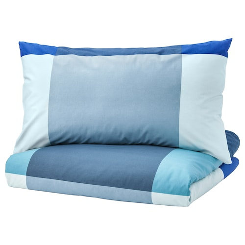 BRUNKRISSLA Quilt cover and 2 pillowcases, blue/grey, 240x220/50x80 cm