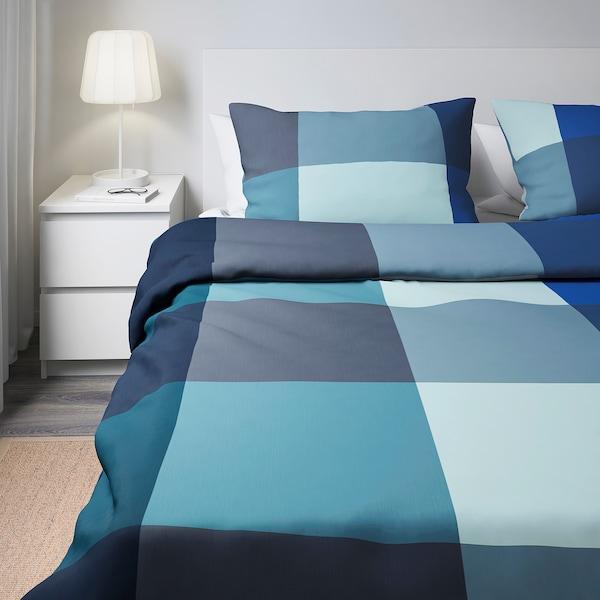 BRUNKRISSLA quilt cover and 2 pillowcases blue/grey 152 /inch² 2 pack 230 cm 200 cm 50 cm 80 cm