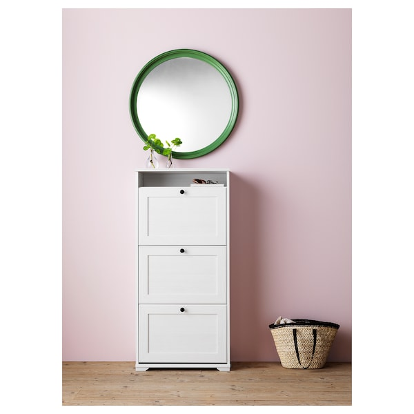 BRUSALI shoe cabinet with 3 compartments white 61 cm 30 cm 130 cm