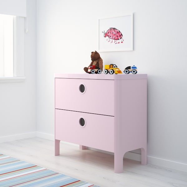 BUSUNGE chest of 2 drawers light pink 80 cm 40 cm 76 cm 33 cm 15 cm