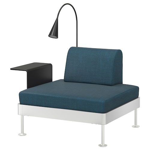 DELAKTIG armchair with side table and lamp Hillared dark blue 79 cm 114 cm 84 cm 45 cm 20 cm 90 cm 80 cm 45 cm 10 cm 1.9 m 3.4 W