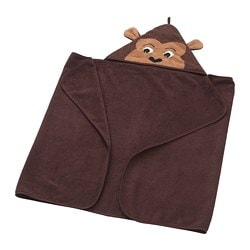 DJUNGELSKOG towel with hood, monkey, brown