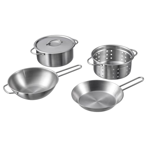 DUKTIG 5-piece toy cookware set stainless steel colour