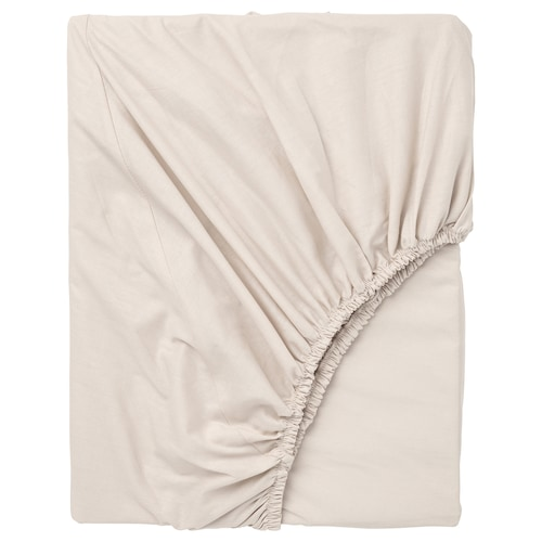 DVALA fitted sheet beige 152 /inch² 200 cm 150 cm