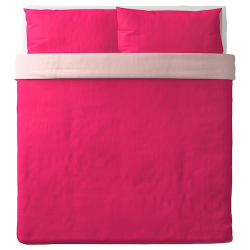 DVALA quilt cover and 2 pillowcases pink 152 /inch² 2 pack 220 cm 240 cm 50 cm 80 cm