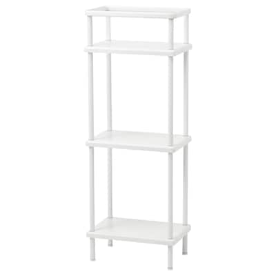 DYNAN Shelf unit with towel rail, white, 40x27x108 cm