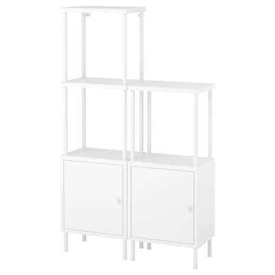 DYNAN Shelving unit with 2 cabinets, white, 80x27x94-134 cm